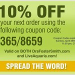 10 percent off your next order from live aquaria and drs foster and smith